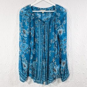 NWOT Lucky Brand Sheer Paisley Button-Up Top